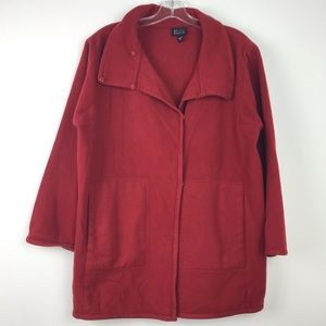Eileen Fisher Pure Wool Red Coat Sz S